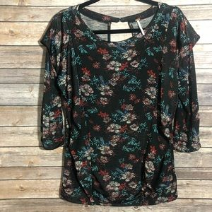 Free People Blouse Medium Black Floral Print